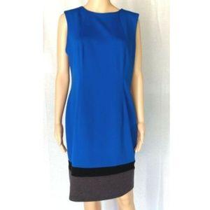 Calvin Klein blue color block knit dress size 12